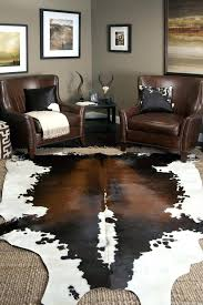 fake cowhide rug cow hide rugs elegant brown leather chairs combined with white faux canada fake cowhide rug