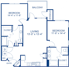 Blueprint of Hampton Floor Plan, 2 Bedrooms and 2 Bathrooms at Camden  Waterford Lakes Apartments