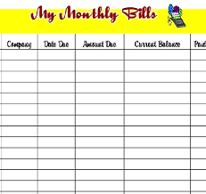 Monthly Payment Sheet Monthly Bill Payment Template Log Interestor Co