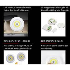 Đèn led thông minh dán tường, Bộ 3 đèn điều khiển từ xa [ĐÈM-LED-MORO]