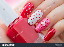Valentine Nail Art Manicure Valentines Day Stock Photo 360525686 ...
