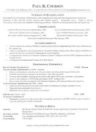 College Resume Example Cool Network Technician Resume Example Network Administration Resumes