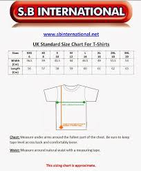 Uk Apparel Size Chart Size Charts For Apparel Sports Wear British Uk Standard