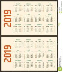 Calendar For 2019 Starts Sunday And Monday Vector Calendar Design