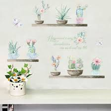 cactus wall decal rural style wall art stickervinyl green plant wall mural removable home decor on cactus wall art nz with green wall art nz buy new green wall art online from best sellers