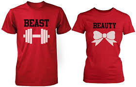 Nice Couple Shirt Designs Beauty Beast Red Matching Couple Shirts Set In 2020