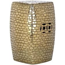 patio stool: safavieh jasmine plated gold patio stool acsa the home depot