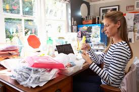 running home office. Download Woman Running Small Business From Home Office Stock Photo - Image Of Horizontal, Female R