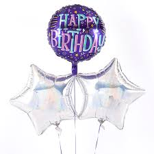 happy birthday confetti style silver balloon bouquet inflated free delivery cardfactory