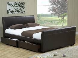 time living houston 4ft6 double brown upholstered faux leather 4 drawer bed frame