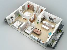 two bedroom house plans. Attractive Design 7 3d Two Bedroom House Plans Impressive 3D Make Your Plan Now