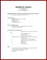 Resume Templates For No Work Experience Adorable Resume Examples First Job For College Students Computer Science