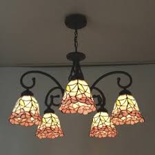 stained glass chandelier five light nature inspired 24 inch pink stained glass tiffany chandelier ceiling