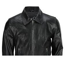 mens black soft real leather vintage collar er