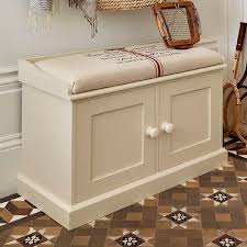 Double Storage Bench With Padded Seat  Shoe Storage Design Ideas Bench With Padded Seat