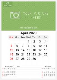 April 2020 Template 2020 April Wall Calendar Template Free