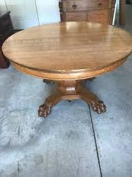antique 48 inch american round oak tiger claw foot dining table