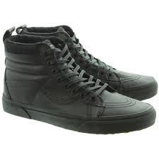 vans shoes black on black. vans sk8 hi leather boots in all black main image. loading zoom · shoes on