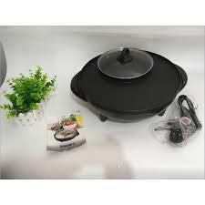 Bếp lẩu nướng điện 2 trong 1 BBQ, nồi lẩu nướng điện đa năng hình tròn Hàn