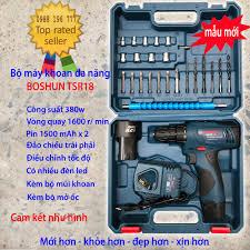 MẪU MỚI] Bộ máy khoan pin, bắt vít pin BOSHUN TSR18 đa năng - Có 2 PIN dùng  cả ngày giá rẻ 522.900₫