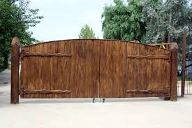 wood fence double gate. Divine Exterior Design Using Wooden Fence Gate : Gorgeous Home Decoration Mahogany Double Wood