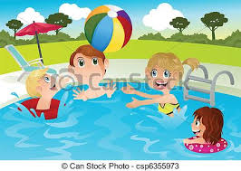 swimming pool vector. Family In Swimming Pool - Csp6355973 Vector
