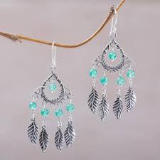 agate chandelier earrings garden leaves sterling silver and agate leaf chandelier earrings