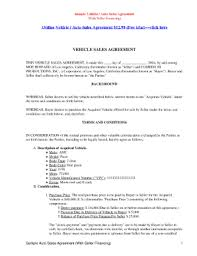 Automobile Sales Agreement 27 Printable Vehicle Sales Agreement Forms And Templates