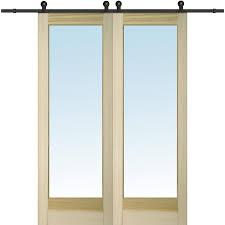 mmi door 60 inx96 in unfinished poplar 1 lite barn door with sliding door