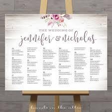 Alphabetical Wedding Seating Chart Printable Wedding Seat Signs Guest Chart Boho Weddings Bohemian Poster Horizontal Vertical Digital