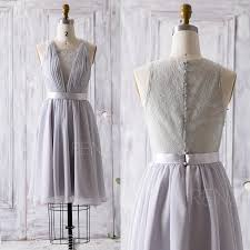 2016 Grey Bridesmaid Dress Short V Neck Lace Wedding Dress Lace