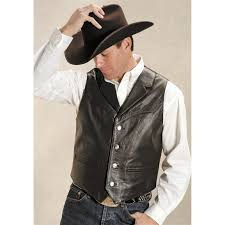 roper saguaro west nappa leather vest black