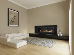 shades grey modern living room design with shaped white leather sofa and beautiful wall mounted two electric fireplace
