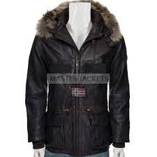 men hooded leather coat with fur hooded coat