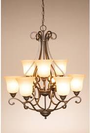 portfolio linkhorn 30 9 light aged bronze wrought iron tinted glass chandelier 737995346515