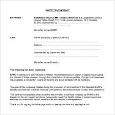 Investment Agreement Templates Investor Agreement Template Word Myexampleinc