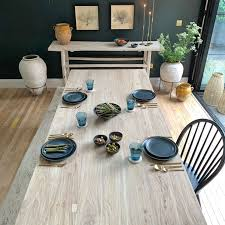 whitewash reclaimed wood dining table