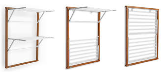 wall mounted wooden laundry drying rack
