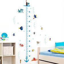 Nursery Height Measure Growth Chart Wall Sticker Kids Boys Girls Underwater Fish Finding Nemo Decorative Decor Decal Poster