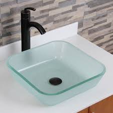 Glass Sink Bathroom Elite 1502 Frosted Square Tempered Glass Bathroom Vessel Sink