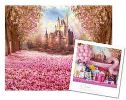 Cherry Blossom Backdrop Pink Theme Party Decoration Flower Cherry Blossoms Backdrop Fairytale Princess Castle Backdrop Baby Shower Photo Background For Baby Girl Birthday
