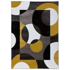 modern circles gray yellow area rug 9 x12