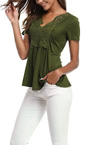 Moly Resin Color Chart Miss Moly Womens Evening Top Flared Tunic Top Comfy Solid Color Olive Green M Italian Secrets