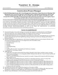 Construction Project Manager Resumes Sarahepps Com