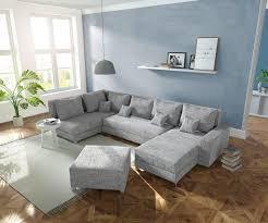 Couch Panama Hellgrau Ottomane Links Longchair Rechts Mit Hocker Wohnlandschaft