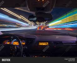 Inside Motion Lights Night Driving View Image Photo Free Trial Bigstock
