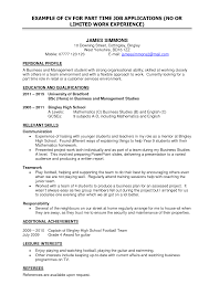 Part Time Job Resume Template Free Resume Example And Writing