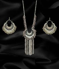 a m international artificial silver oxidised classy afghan tribal long necklace set a m international artificial silver oxidised classy afghan tribal