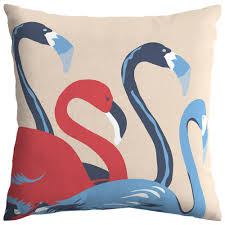 hampton bay ruby flamingos square outdoor throw pillow