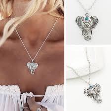 boho lucky elephant pendant necklace
